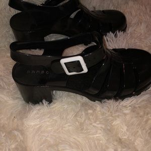 Size 6.5 Black Heeled Jellies